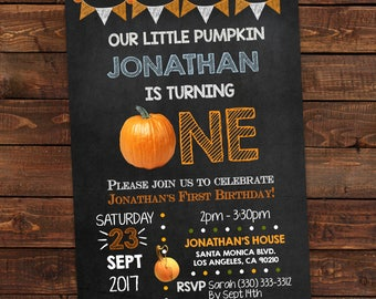 Little Pumpkin One Blue For Boy's - Pumpkin 1st Birthday Invitation Blue Boy's - Fall First Invitation - PDF Editable #DPI89ONE
