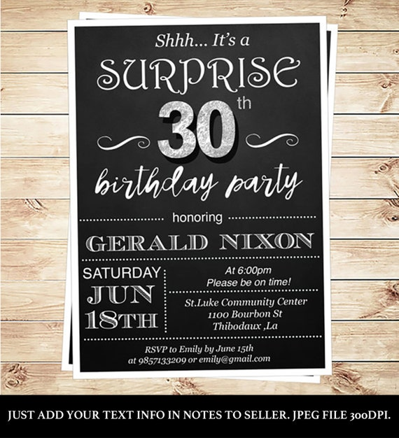 Surprise 30th Birthday Invitations For Him By