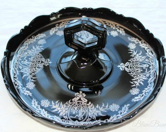 Black amethyst glass handle serving tray, sterling silver overlay