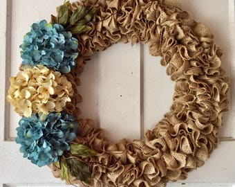 Country Burlap Ruffle Wreath With Blue And Cream Hydrangeas