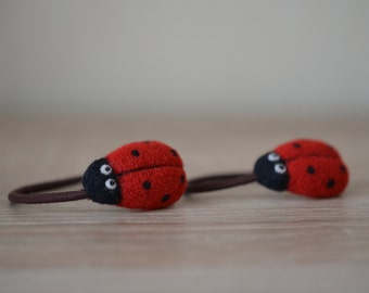 SUMMER SALE!!! 40% off with a coupon code SUM17MER!!! Set of 2 Elastic Metal-Free Hair Ties (Ponytail Holders) - Needle Felted Ladybirds