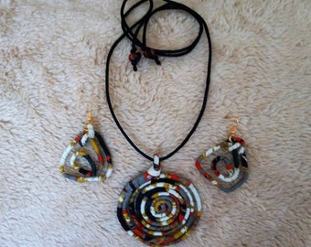 Ankara Wired wrapped Pendant and Earring set. wire wrapped jewelry, ankara necklace, ankara earrings, fabric necklace, wire wrapped pendant