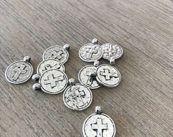 Silver cross charm-charm bracelet-jewelry supplies-religeous charms-christian jewelry-DIY supplies