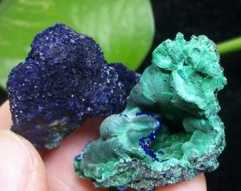 2pcs Sparkling Blue Azurite & Malachite B3380 from Liufengshan Anhui China