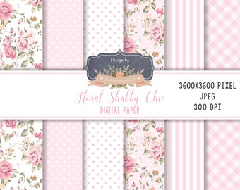 SALE Floral Shabby Chic digital paper pack, floral pattern, floral pink, roses paper pack, stripes paper