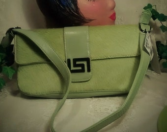 Vintage Colini Handbag- Shoulder style  in Lime Green Cowhide – with Tags