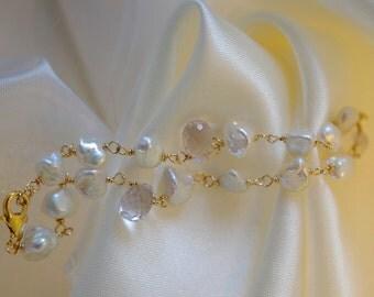 Keshi Pearl Amethyst Briolett bracelet gold plated wire Keshi pearls pure nacre Amethyst Briolette bracelet