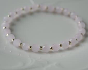 Powder rose gold beaded Stretch Bracelet