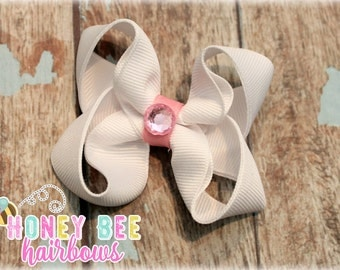 White hair bow with pink jewel, boutique hair bow, solid color hair bow, holiday bow, spring, Easter