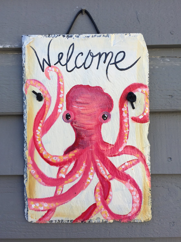 octopus slate welcome sign, 12 x 8 painted slate, coastal decor
