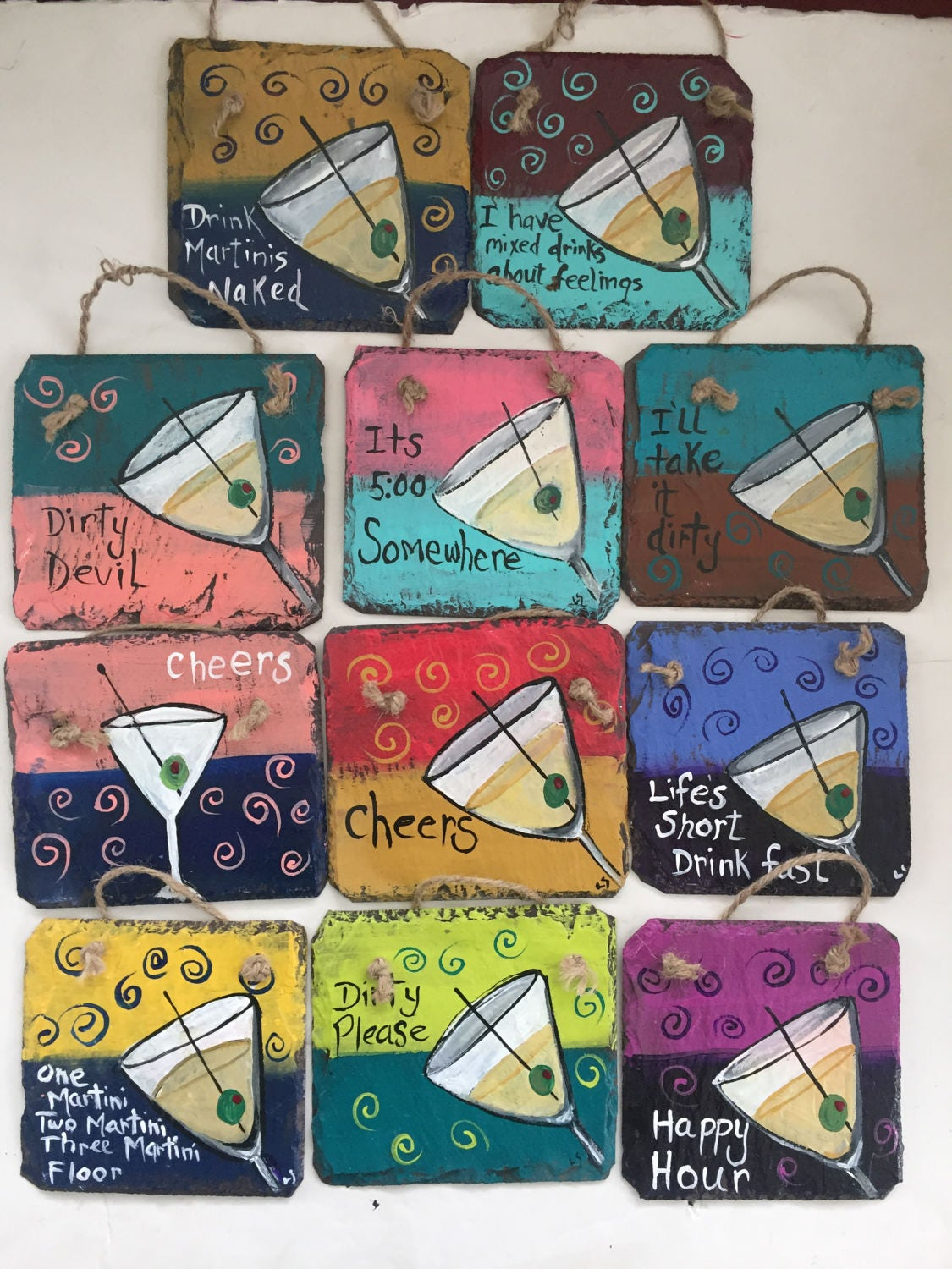 adult party favors party favors whimsical martini glass painted slate martini painting 5x5 slate painting bar wall art