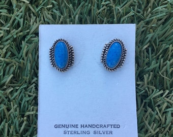 Vintage Denim Turquoise and Sterling Silver Earrings
