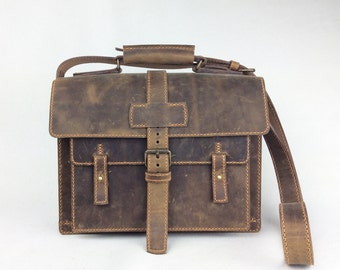 Brown Leather Messenger Men's Briefcase Handmade