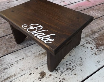 Wood Child S Step Stool With Name Personalized Aqua