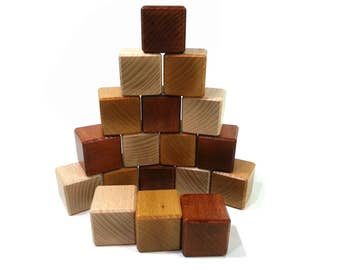 Blocks baby, 18 cubic construction, large wood block size, 3 colors