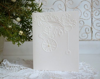 Embossed Christmas Card Set, Holiday Cards, Holiday Card Set, Merry Christmas Card Set, Set of 6