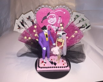 joker and harley wedding cake topper joker cake topper etsy 16609