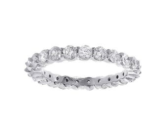 1.55 carat Round Cut Diamond Eternity Wedding Band 14k White Gold
