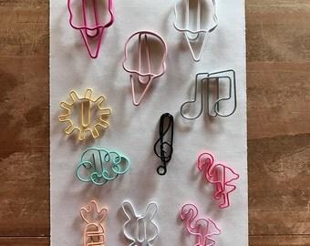 Planner clip. Doodlebug. Planner supplies. Planner decorations. Planner accessories. Rabbit, carrot, flamingo, cloud, sun