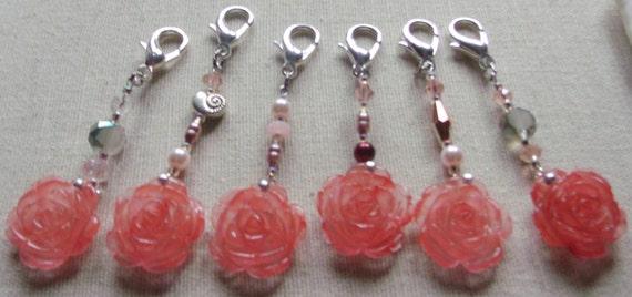 Flower zip pull - Cherry quartz gem -  bridal shower accessory - favor bag - bridesmaid ornament - wedding memento -  LizPoriginals