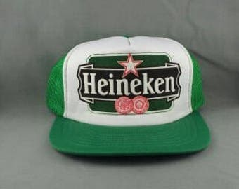 Vintage Trucker Hat - Heineken Beer - Featuring Puffy Graphic