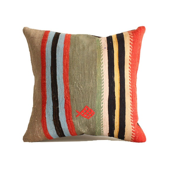 Turkish Kilim Floor Pillow : 18x18 Turkish kilim pillow floor pillow southwestern pillow