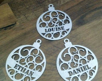 Personalised baubles silver