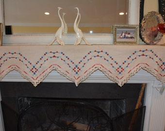 Vintage Embroidered Cloth Fabric Mantle Shelf Scarf 6'