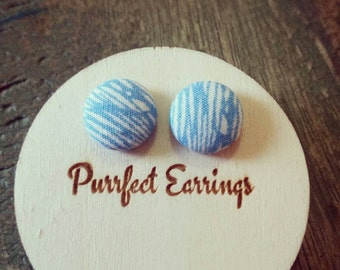 Handmade light blue and white fabric button earrings 12mm