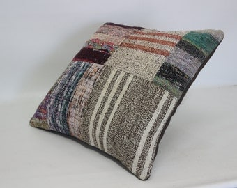 Striped Kilim Pillow Ethnic Pillow Bohemian Pillow Throw Pillow 20x20 Throw Pillow Bed Pillow Ethnic Pillow   SP5050-1217