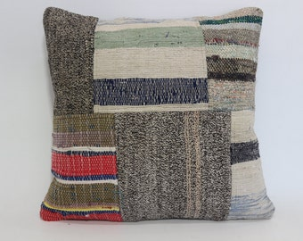 Patchwork Kilim Pillow Bed Pillow 20x20 Decorative Pillow Cushion Cover Bed Pillow Throw Pillow Ethnic Pillow  SP5050-1210