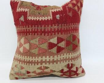 Tribal Pillow 16X16 Turkey Pillow Red Pillow Handmade Pillow Decorative Pillow Bohemian Kilim Pillow Sofa Pillow Ethnic Pillow SP4040-2113