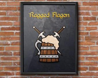 "Minimalist Elder Scrolls: Skyrim ""Ragged Flagon"" (Thieves Guild) Poster Print"