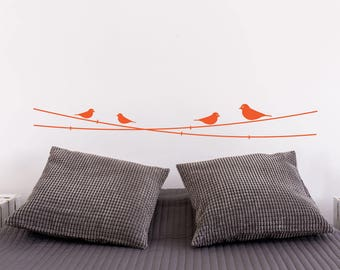 Birds And Power Lines Headboard Wall Decal Sticker
