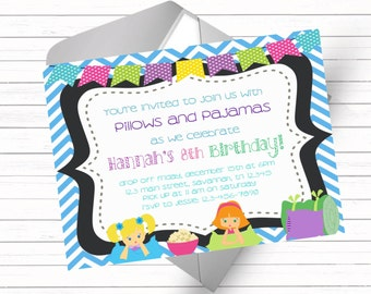 Slumber Party Invitation on Blue Chevron