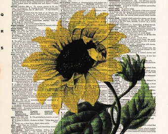 Sunflower | Flowers | Sunflower Lover | Flower Lover | Sunflower Print | Dictionary Print |  | Re-purposed Dictionary  | Gift For friend