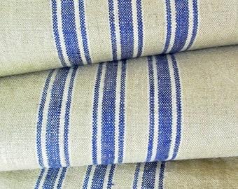 Mangelcloth - Antique Linen Table Runner - Blue Stripes