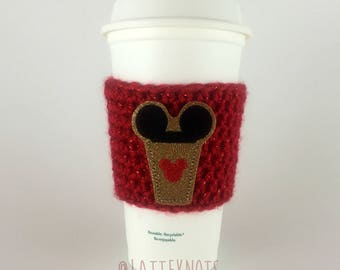 Mouse Ears Coffee Cup Cozy / Crochet Coffee Sleeve / Reusable Cozie / Customizable