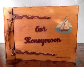Vintage Large 1960s Kitschy OUR HONEYMOON Wood Photo Book w/ Retro Photo Corner Attachments