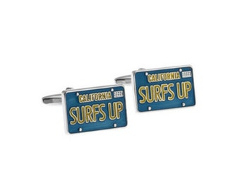 License Plate Surfs Up Cufflinks-k36