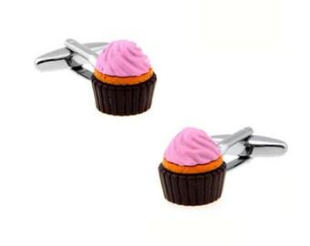 Cupcake Cufflinks -B64 Free Gift Box.