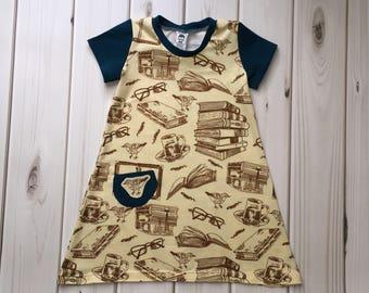 Toddler Girls Dress - Toddler Dress - Bookworm Dress - Girls Dresses - Toddler Play Dress - Gifts for Girls - Hipster Dress