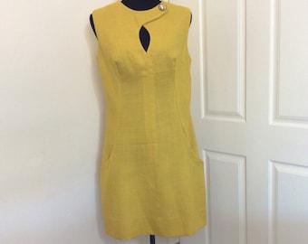 Mustard Yellow Dress - 1960's - Vintage Linen Dress - Miss Chris of California - Vintage Yellow Dress - Vintage Clothing - Shift Dress