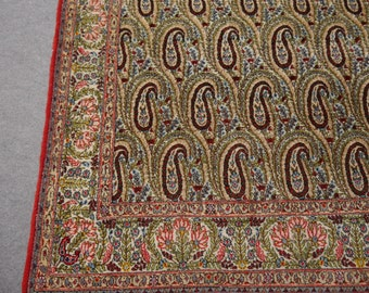 Qum vintage rug Iran / Persia 6.9 x 4.5 ft / 209 x 137 cm elegant wool carpet paisley design bothe kerman