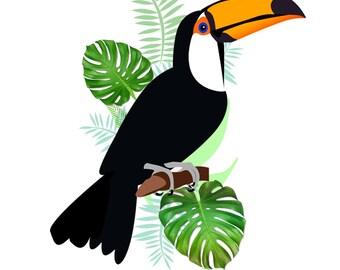 Tropical Bird Rainforest Illustration Greetings card birthday card anniversary