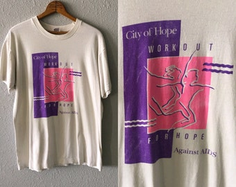 1994 City of Hope Vintage Aids Charity Dance Graphic T Shirt