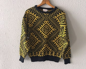 1980's Calvin Klein Sport Southwestern Print Vintage Black Sweater