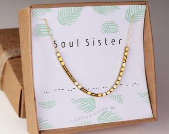 Soul sister necklace, best friend gift, best friend necklace, Morse code necklace, soul sister bracelet, Morse code, gift for best friend