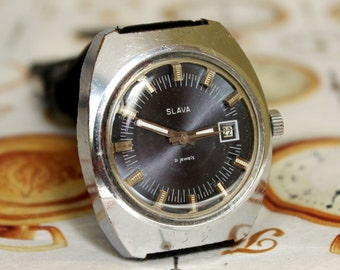 Men's Soviet Watch SLAVA - 21jewels, Classic Vintage Watch , Dress Watch-1970's, Wrist Watch, Mens Watch, Mechanical Watch, Russian Watch