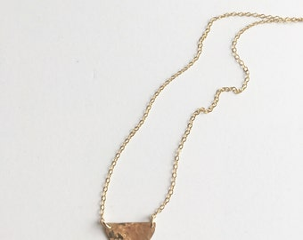 Gold Filled Hammered Half Moon Necklace